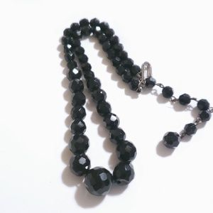 VINTAGE NECKLACE CHOKER STYLE BLACK BEADED VTG NK